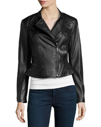 Vakko Faux Leatherponte Jacket Black
