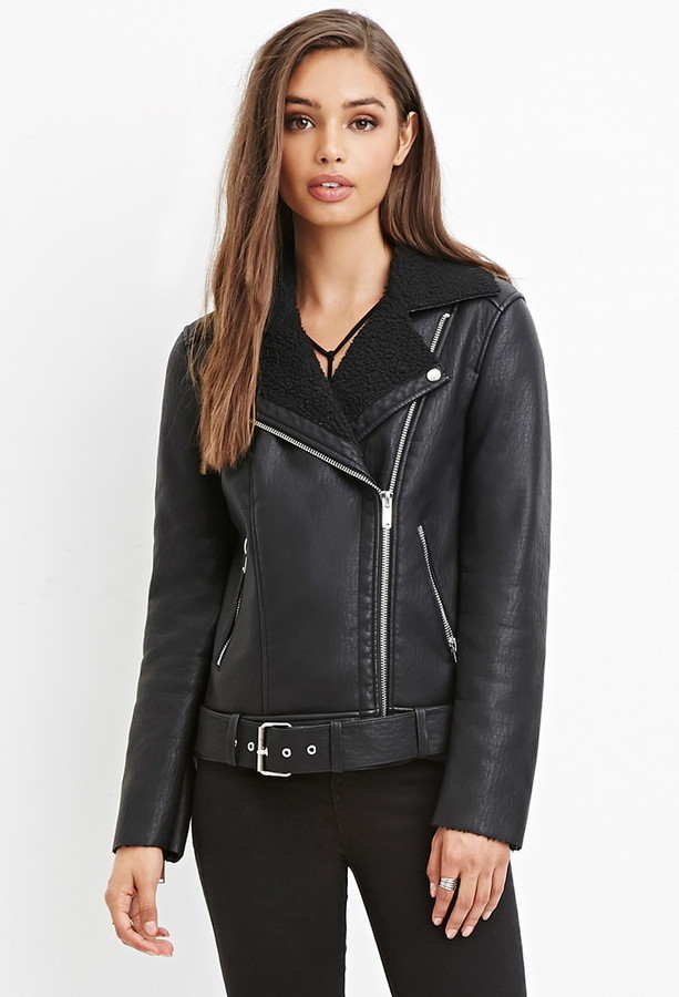 cheaper 527f3 b13a3 Forever 21 Faux Shearling Moto Jacket,  54   Forever 21   Lookastic.com