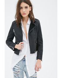 Forever 21 Textured Faux Leather Moto Jacket