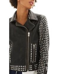 Topshop Frazey Stud Biker Leather Jacket