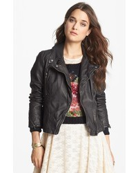 Free People Distressed Faux Leather Moto Jacket