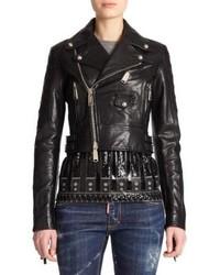 Dsquared2 Fringe Leather Moto Jacket