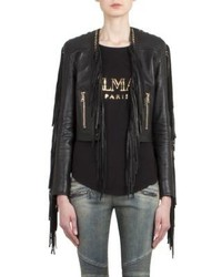 Balmain Fringed Leather Biker Jacket