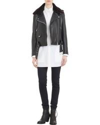 Acne Studios Fur Collar Leather Mape Moto Jacket Black