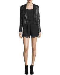 Alice + Olivia Gamma Loving You Embroidered Leather Biker Jacket
