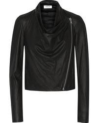Helmut Lang Draped Leather Biker Jacket