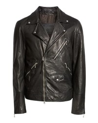 AllSaints Holt Slim Fit Leather Biker Jacket