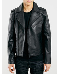Selected Homme Black Leather Biker Jacket