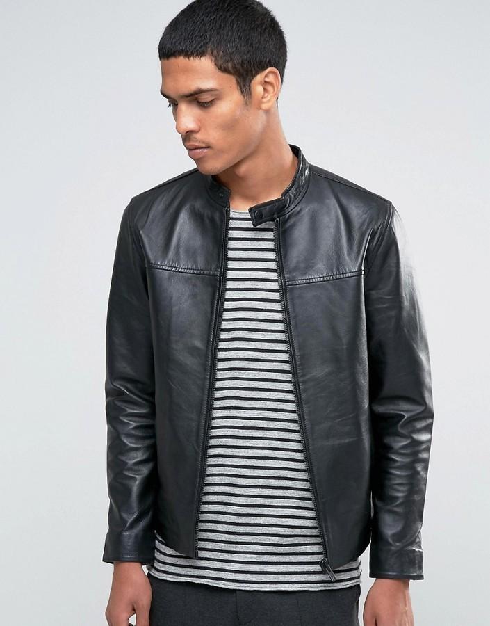 8b51d2caf $285, Selected Homme Leather Biker Jacket