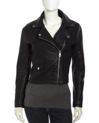 Bagatelle Hooded Faux Leather Moto Jacket Black