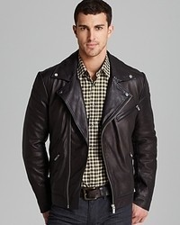 Hugo Boss Hugo Larock Leather Biker Jacket