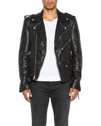 BLK DNM Iconic Leather Motorcycle Jacket In Ink Blue