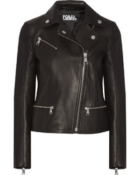 Karl Lagerfeld Ikonik Odina Leather Biker Jacket Black