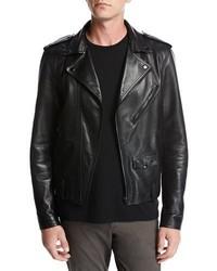 Vince Italian Leather Motorcycle Jacket Black