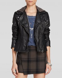 Free People Jacket Hooded Moto Faux Leather