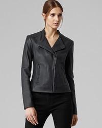 Reiss Jacket Short Collar Leather Biker