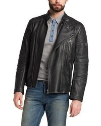 Hugo Boss Jakim Leather Biker Jacket 42r Black