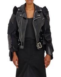 Comme des Garcons Junya Watanabe Comme Des Garons Mixed Fabric Sleeves Biker Jacket