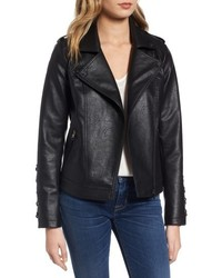 Steve Madden Lace Detail Faux Leather Biker Jacket