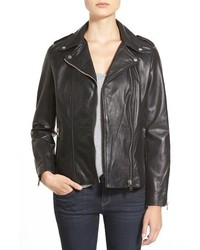 Lamarque Terri Lambskin Leather Moto Jacket