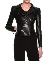 Giorgio Armani Lamb Leather Moto Jacket Black