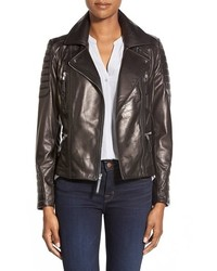 Vince Camuto Lambskin Leather Moto Jacket