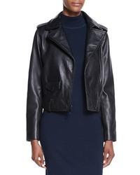 Neiman Marcus Lambskin Leather Moto Jacket