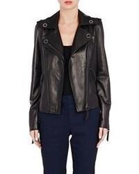 Lanvin Grommet Embellished Moto Jacket Black