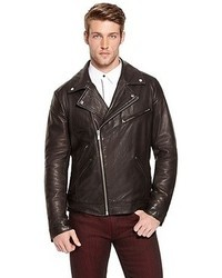 Hugo Boss Larock Leather Motorcycle Jacket Black