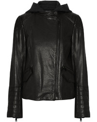 Vince Leather Biker Hooded Jacket