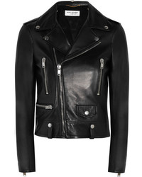 Saint Laurent Leather Biker Jacket Black