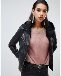 Goosecraft Leather Biker Jacket With Removable Hood