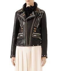 Gucci Leather Biker Jacket With Studs