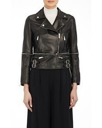 Christopher Kane Leather Biker Jacket With Zip Off Hem Black S