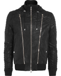 Balmain Leather Hooded Biker Jacket