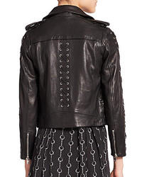 df2700cfc96 ... The Kooples Leather Lace Up Moto Jacket