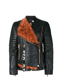 Proenza Schouler Leather Moto Jacket With Shearling Panel