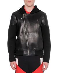 Givenchy Leather Neoprene Moto Jacket Black