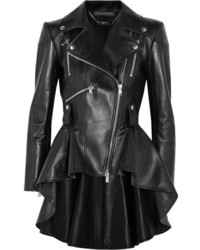 Alexander McQueen Leather Peplum Biker Jacket Black