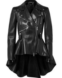 Alexander McQueen Leather Peplum Biker Jacket