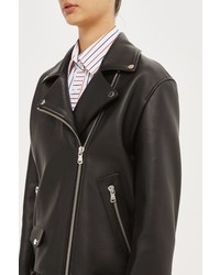 Boutique Longline Leather Biker Jacket