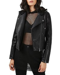Topshop Maggie Faux Leather Moto Jacket With Faux Fur Lined Hood