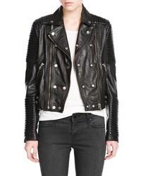 Mango Outlet Leather Biker Jacket