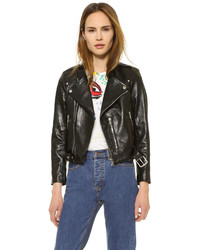 Marc Jacobs Cropped Leather Moto Jacket