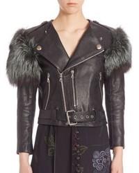 Marc Jacobs Fur Detail Leather Moto Jacket