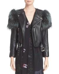Marc Jacobs Leather Moto Jacket With Genuine Fox Fur Trim