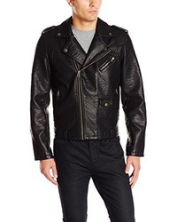 Members Only Faux Leather Asymmetrical Zip Moto Jacket