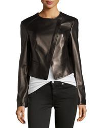 Michael Kors Michl Kors Asymmetric Leather Jacket Black