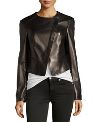 Michael Kors Michl Kors Asymmetric Leather Jacket Black