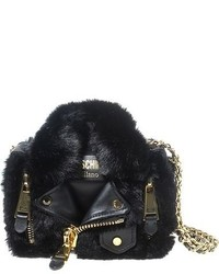 Moschino Mini Moto Jacket Faux Fur Leather Crossbody Bag Black
